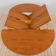 21259 Mid century Danish Round teak extension table with hidden leaves, 1960s-10