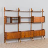 21268 Three bay Teak Ergo Modular Wall Unit with 6 cabinets by John Texmon for Blindheim Møbelfabrikk, 1970s-8