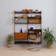 21269 Two bay Teak Ergo Modular Wall Unit with 4 Shelves _ 4 Cabinets by John Texmon for Blindheim Møbelfabrikk, 1960s-2