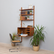 21274 Poul Cadovius wall unit with secretaire and 3 shelves -2