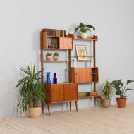 21276 Scandinavian Ergo Wall Unit in teak with 3 shelves and 3 cabinets by John Texmon for Blindheim Møbelfabrikk, 2 bay vintage modular shelving system, 1960s-2