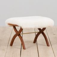 21278 Danish solid teak stool in white short sheepskin-2