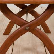 21278 Danish solid teak stool in white short sheepskin-8