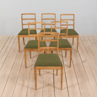 21279 Set of 6 Fritz Hansen Danish mid century dining chairs in sanded oak with new green wool upholstery, Denmark, 1960s-1