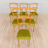 21280 Set of 6 Italian mid century dining chairs in new green velvet, 1960s-1