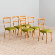 21280 Set of 6 Italian mid century dining chairs in new green velvet, 1960s-4