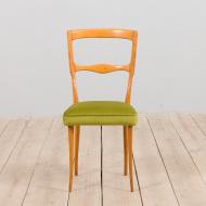 21280 Set of 6 Italian mid century dining chairs in new green velvet, 1960s-5