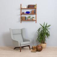 21294 Mid century wall unit, set of 3 hanging teak shelves in Cadovius Sorensen style, Denmark, 1960s-1