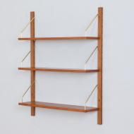 21294 Mid century wall unit, set of 3 hanging teak shelves in Cadovius Sorensen style, Denmark, 1960s-5
