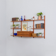 21298 Poul Cadovius Teak dresser Wall Unit With a chest of drawers And 7 Shelves, Denmark 1960s-2