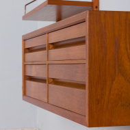 21298 Poul Cadovius Teak dresser Wall Unit With a chest of drawers And 7 Shelves, Denmark 1960s-9