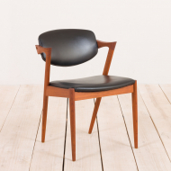 2130 Kai Kristiansen teak chair model 42 in black leather-1