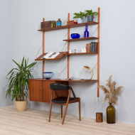 21302 Danish two bay modular wall unit with a desk, sliding doors cabinet and a display shelf in Sorensen Cadovius style, 1960s-2