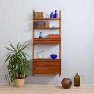 21304 Poul Cadovius Danish wall unit with  chest of drawers, a console and 2 shelves, 60s-1