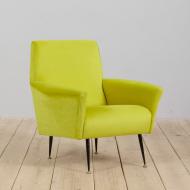 21315 mid century modern Light lemon green Italian armchair, 60s-1