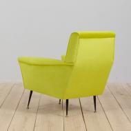 21315 mid century modern Light lemon green Italian armchair, 60s-5