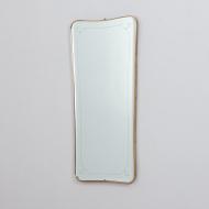 21325 Organic shape Italian Mid century brass mirror with beveled edges, 1960s-2