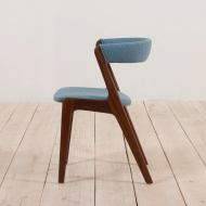2134 Teak Kai Kristiansen dining fire chair in new blue upholstery-3