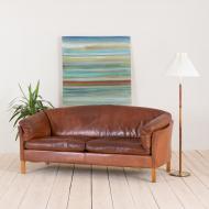 2135 Mogens Hansen 2,5 seater cognac leather sofa-1
