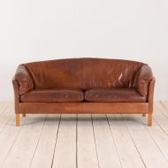 2135 Mogens Hansen 2,5 seater cognac leather sofa-3