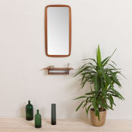 2154 Jm teak frame mirror Nr. 455 with organic shape console-1