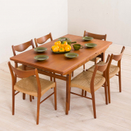 2156 Johannes Andersen style teak extension table with concealed panels-1