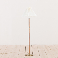 2157 Danish rosewood and brass floor lamp with Le Klint shade-1