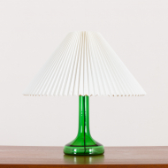 2159 Holmegaard deep green glass lamp with Le Klint shade-1