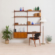 2164 Kai Kristiansen wall unit with small desk and cabinet in teak-1