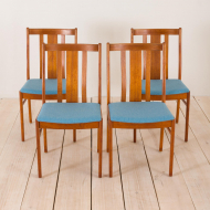 2170 set of 4 Danish MID-CENTURY teak chairs in new blue upholstery-1