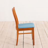 2170 set of 4 Danish MID-CENTURY teak chairs in new blue upholstery-7