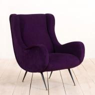 2174 Marco Zanuso Senior Chair reupholstered in Belgian linen, Italy, 60s-3