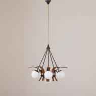 2177 Stilnovo chandelier in teak żyrandol lampa wisząca stilnovo 6 kul-3