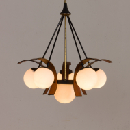 2177-Stilnovo chandelier in teak żyrandol lampa wisząca stilnovo 6 kul-8