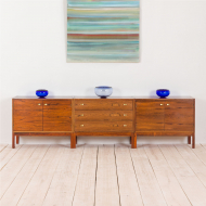 2197 Danish three pieces credenza in rosewood with brass handles-2