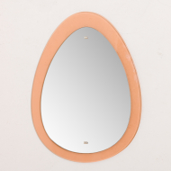 2201 egg shaped 70s mirror with peach glass frame-1