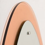 2201 egg shaped 70s mirror with peach glass frame-4
