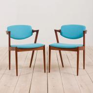 2211 Set of 2 teak Kai Kristiansen 42 chairs in new turquise upholstery-1