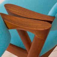 2211 Set of 2 teak Kai Kristiansen 42 chairs in new turquise upholstery-14