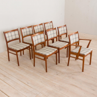 2239 Set of 8 teak dining chairs in new natural checkered upholstery-2