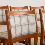 2239 Set of 8 teak dining chairs in new natural checkered upholstery-3