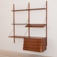 2240 Teak wall unit with a desk and chest of drawers by Preben Sorensen - Cadovius, Denmark-5