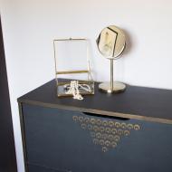 bielizniarka prl renowacja komoda na bielizne szafka złota czarna (2S)