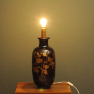 bordowa duza porcelanowa lampa  h
