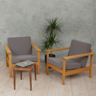 Borge Mogensen style oak lounge chairs-1