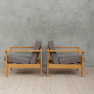 Borge Mogensen style oak lounge chairs-6