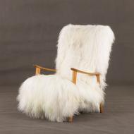 Danish high back lounge chair in extra  long hair sheepskin 2036-3