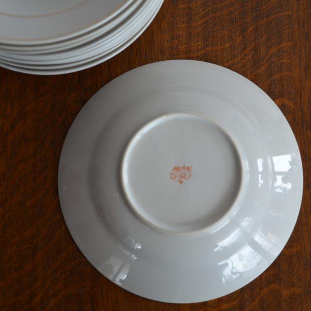 10 1 Talerzy D P R K Biała Porcelana Koreańska Ze Złoceniem Patyna Pl