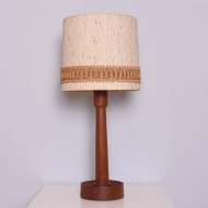 duża lampa tekowa abazur bezowy (1)