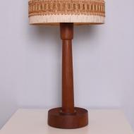 duża lampa tekowa abazur bezowy (2)